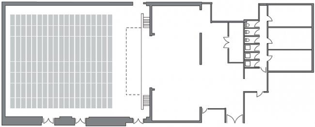Main Hall floor plan (theatre and backstage)