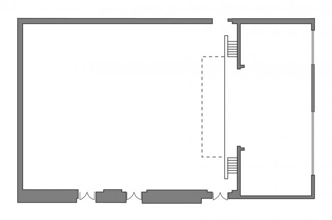 Main Hall floor plan (theatre only, no seating)
